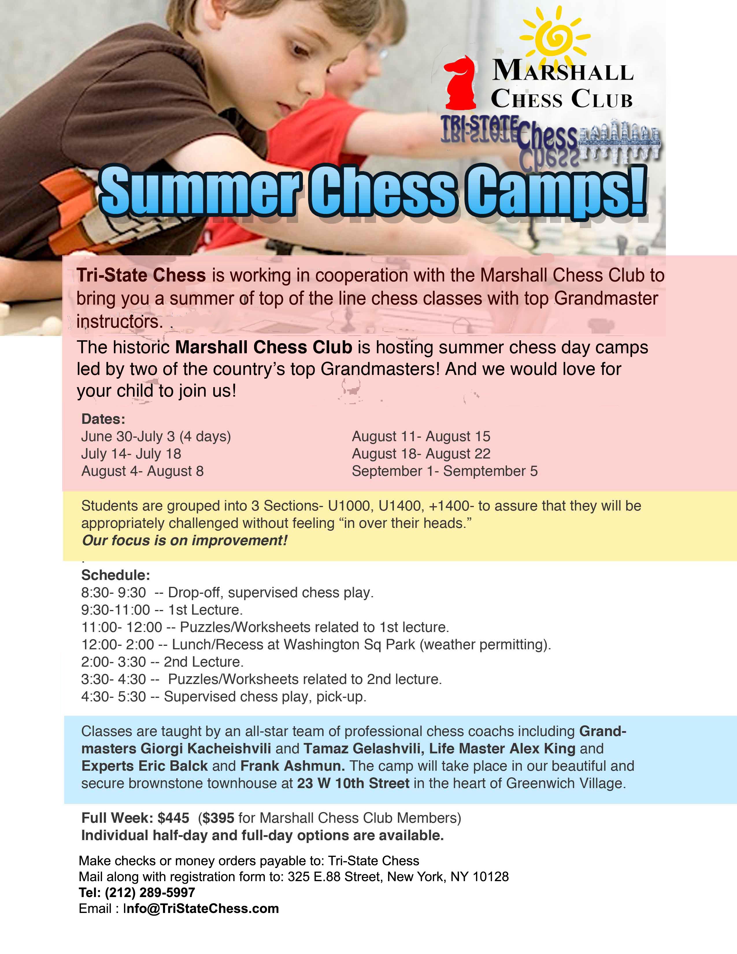 Marshall Camp – New York, Chess Programs and Equipment | Tri